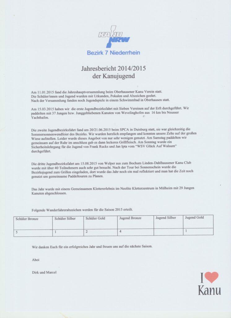 Jahresbericht 2014-2015 der Kanujugend