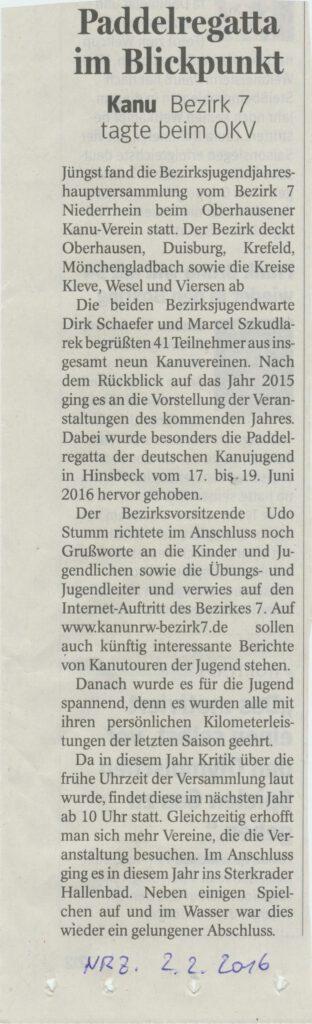Pressebericht NRZ Bezirksjugendtag 2016