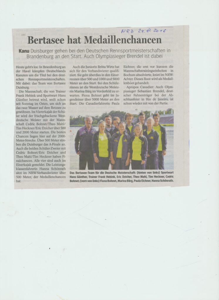 Bertasee hofft auf Medaillen bei Rennsport DM 2016 in Brandenburg