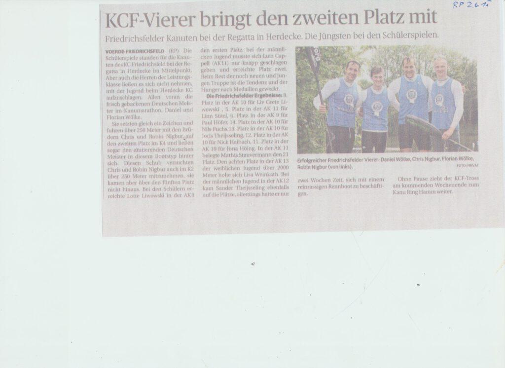 KCF Vierer erfolgreich in Herdecke 02062015 001