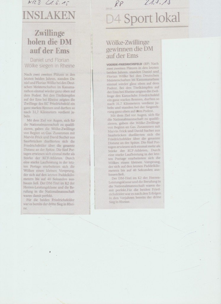Wölke Zwillinge vom KC Friedrichsfeld gewinnen DM auf der Ems 052015