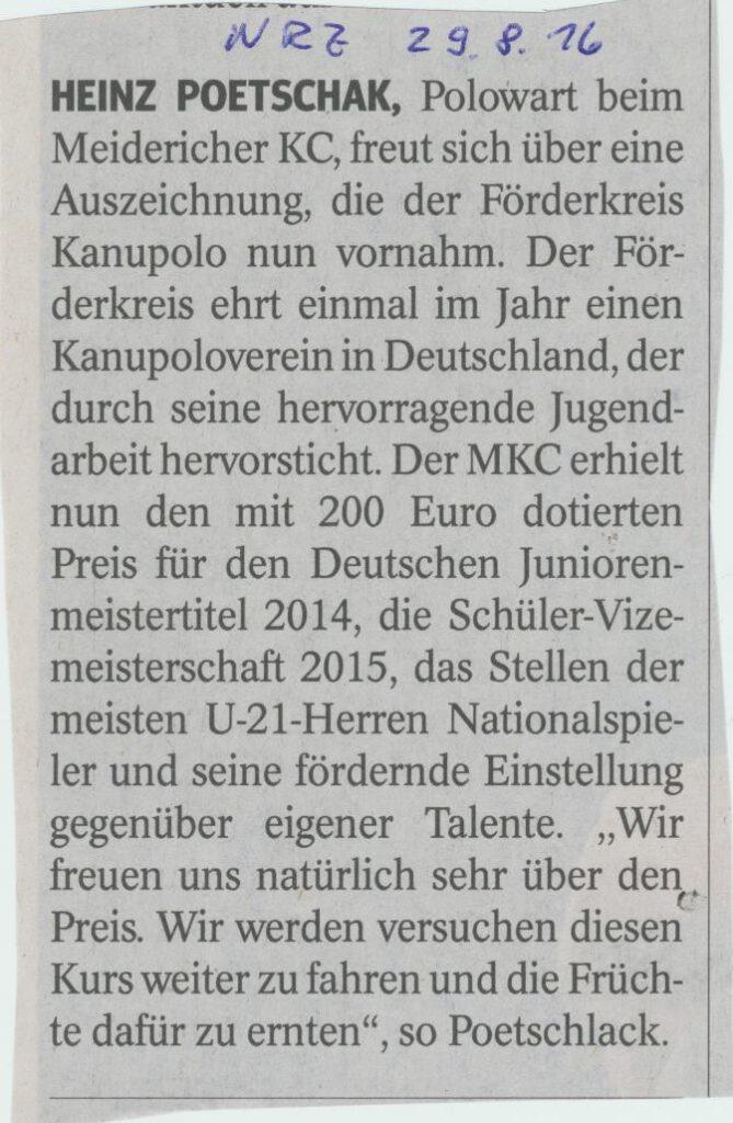 Auszeichnung für Heinz Poetschlak 082016