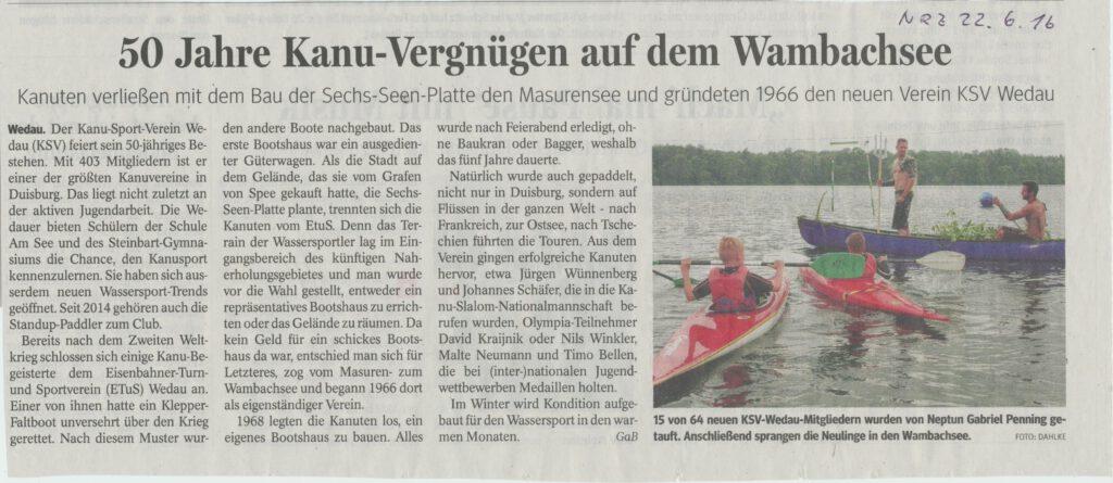 Zeitungsartikel 50 Jahre KSV DU-Wedau 22.6.2016